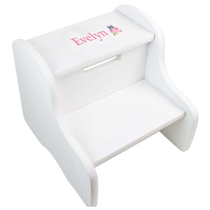 Personalized Single Owl Design Fixed White Stool