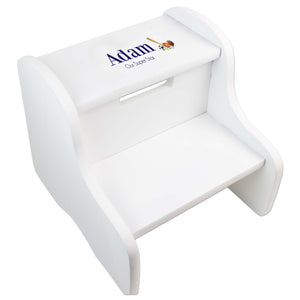 Single Sports White Two Step Stool
