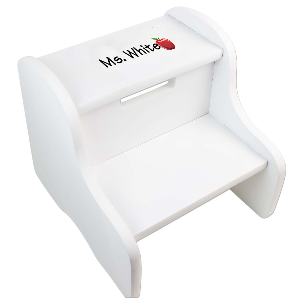 Personalized Single Apple Design Fixed White Stool
