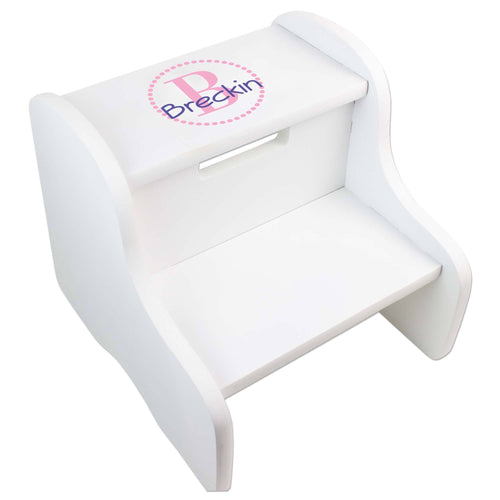 Personalized White Fixed Stool With Pink Circle Design