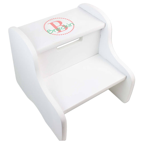 Personalized White Fixed Stool With Coral Circle Design
