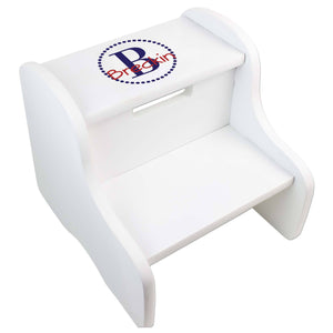 Personalized White Fixed Stool With Navy Circle Design