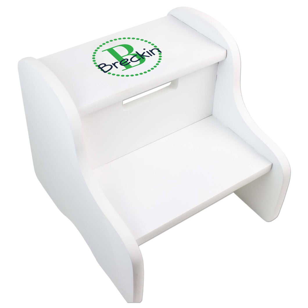 Personalized White Fixed Stool With Green Circle Design