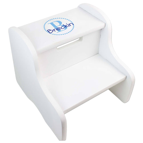 Personalized White Fixed Stool With Aqua Circle Design