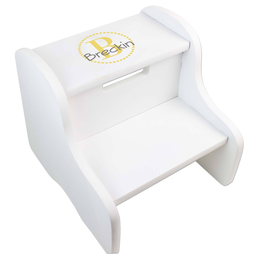 Personalized White Fixed Stool With Gold Circle Design