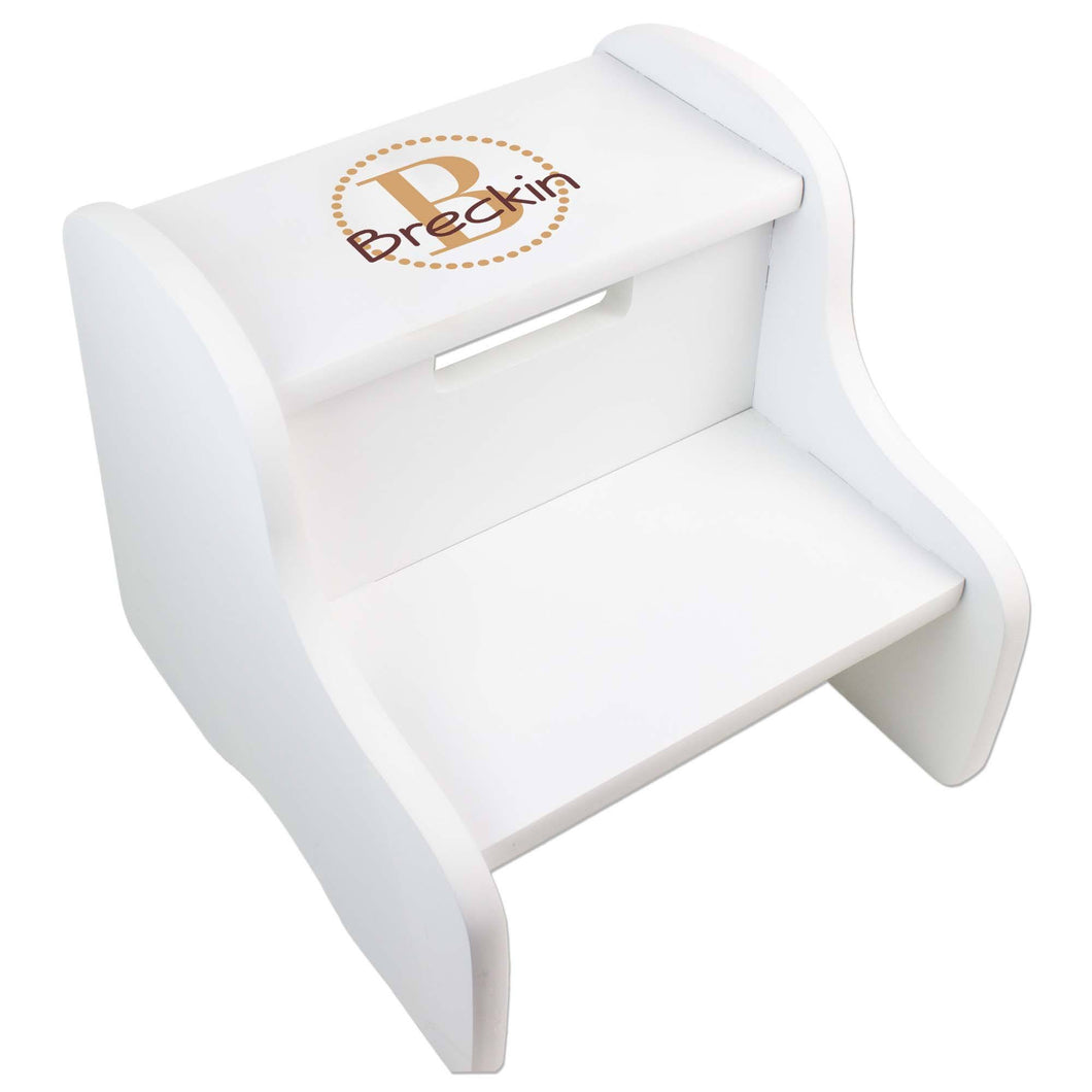 Personalized White Fixed Stool With Brown Circle Design
