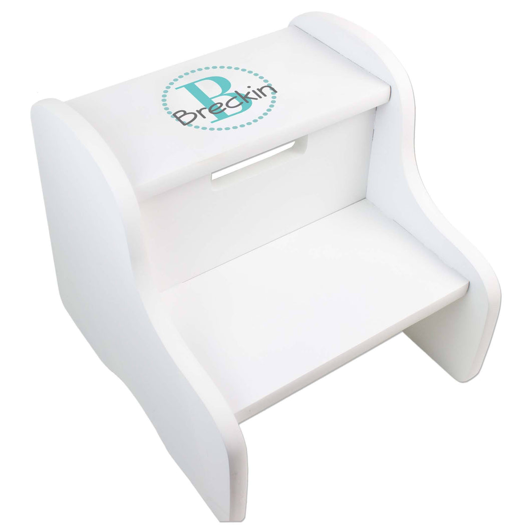 Personalized White Fixed Stool With Teal Circle Design