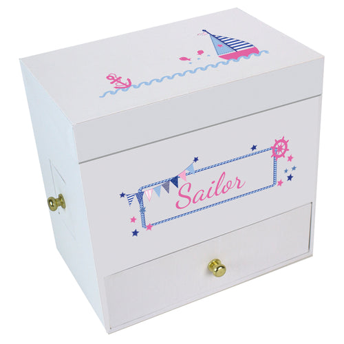 Girl's Sailboat Deluxe Musical Ballerina Jewelry Box