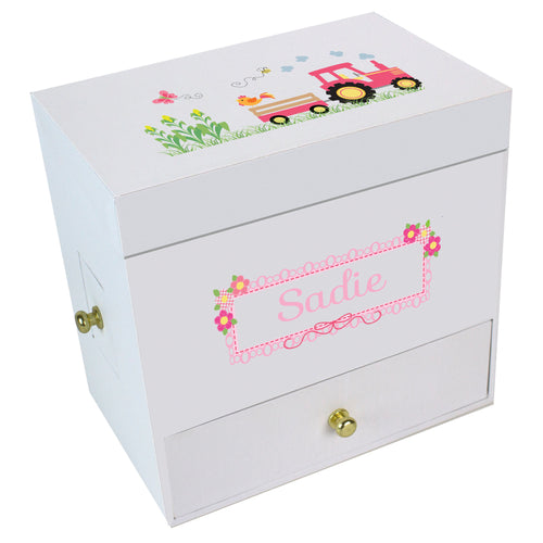 Pink Tractor Deluxe Musical Ballerina Jewelry Box