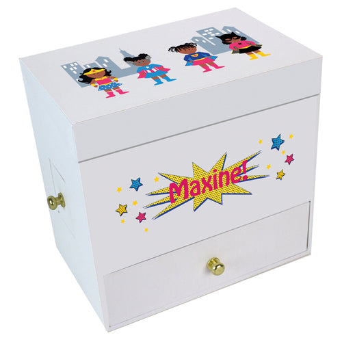 Girls African American Superhero Deluxe Ballerina Jewelry Box