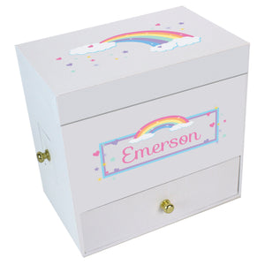 Pastel Rainbow Deluxe Musical Ballerina Jewelry Box