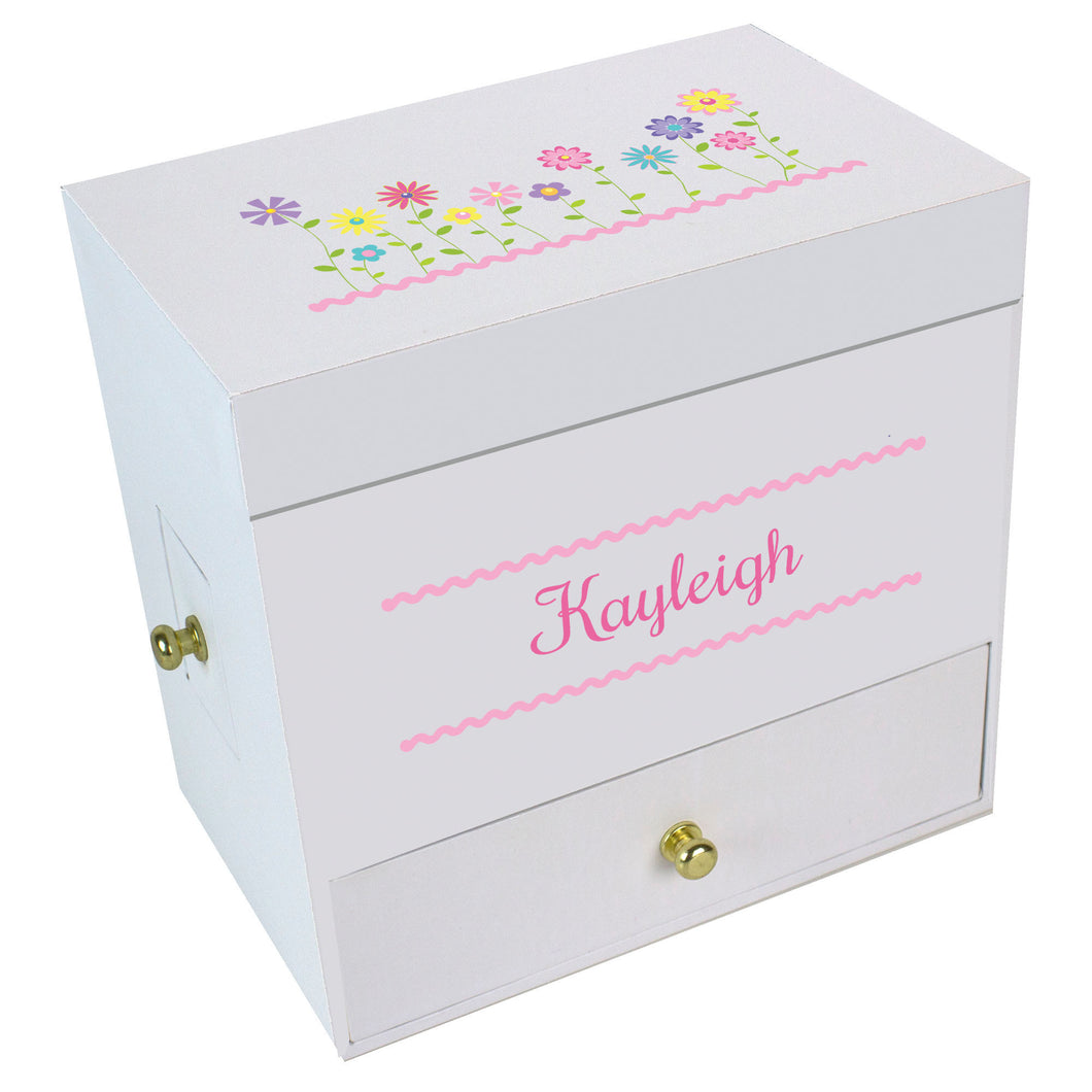 Stemmed Flowers Deluxe Musical Ballerina Jewelry Box