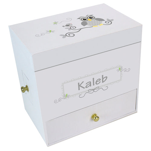 Gray Owl Deluxe Musical Ballerina Jewelry Box