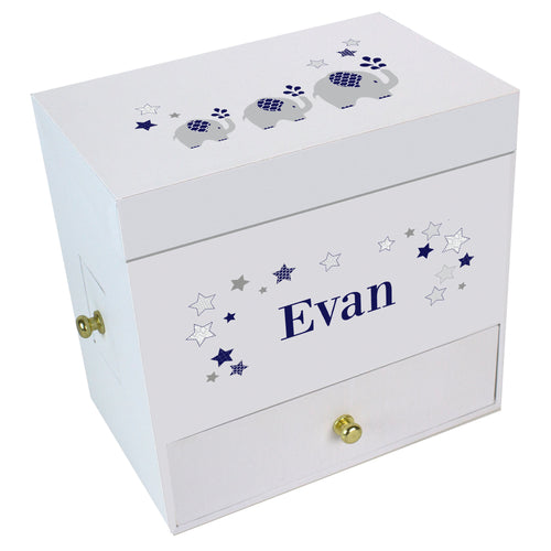 Navy Elephant Deluxe Musical Ballerina Jewelry Box