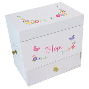 Bright Butterfly Garland Deluxe Musical Ballerina Jewelry Box