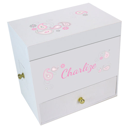 Pink Gray Paisley Deluxe Musical Ballerina Jewelry Box