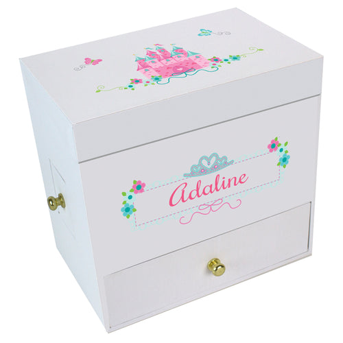 Pink Teal Princess Castle Deluxe Musical Ballerina Jewelry Box