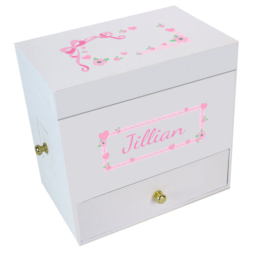 Pink Lacey Bow Deluxe Musical Ballerina Jewelry Box