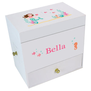 Brunette Mermaid Deluxe Musical Ballerina Jewelry Box