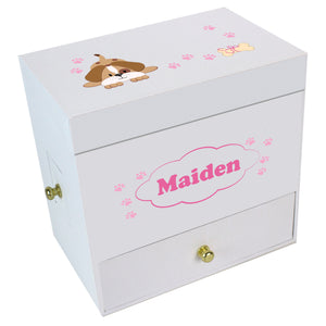 Pink Puppy Deluxe Musical Ballerina Jewelry Box