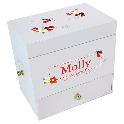 Red Ladybugs Deluxe Musical Ballerina Jewelry Box