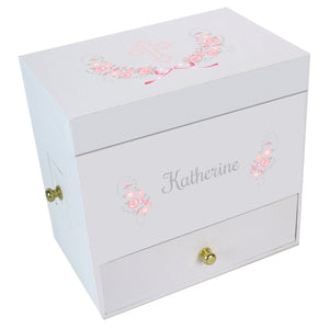 Pink Gray Cross Deluxe Ballerina Jewelry Box