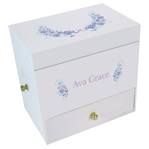 Lavender Garland Deluxe Musical Ballerina Jewelry Box