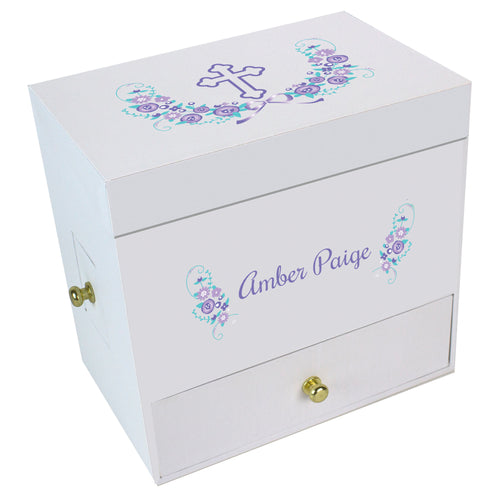 Lavender Cross Deluxe Ballerina Jewelry Box