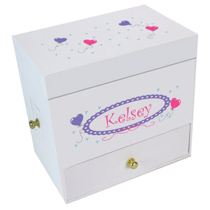 Heart Balloons Deluxe Musical Ballerina Jewelry Box