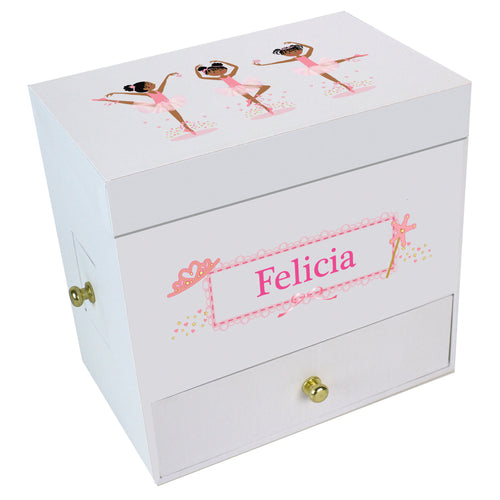 African American Ballerina Deluxe Musical  Jewelry Box