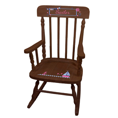 Girl's Sailboat Spindle Rocking Chair-Espresso