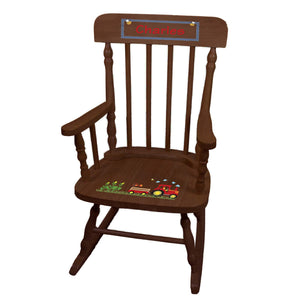 Red Tractor Spindle Rocking Chair-Espresso