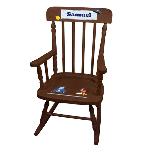 Child's Police Spindle Rocking Chair-Espresso