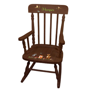 Woodland Animal Spindle Rocking Chair-Espresso