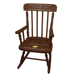 Boy's Prince Crown Spindle Rocking Chair-Espresso