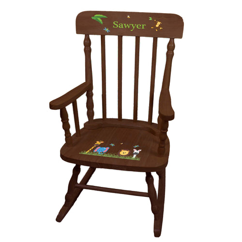 Jungle Animal Spindle Rocking Chair-Espresso
