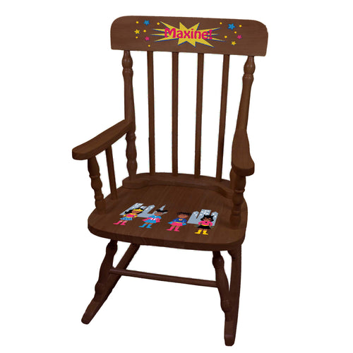 Girl African American Superhero Spindle Rocking Chair-Espresso
