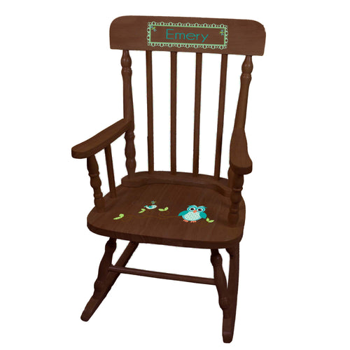 Child's Blue Owl Spindle Rocking Chair-Espresso