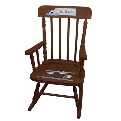 Boy's Shark Spindle Rocking Chair-Espresso