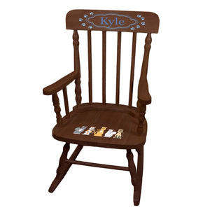 Children's Blue Cats Spindle Rocking Chair-Espresso