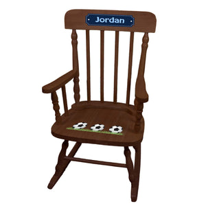 Children's Soccer Spindle Rocking Chair -Espresso