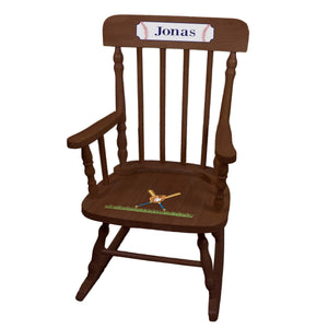 Child's Baseball Spindle Rocking Chair -Espresso