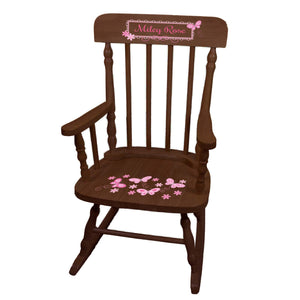 Pink Butterflies Spindle Rocking Chair - Espresso