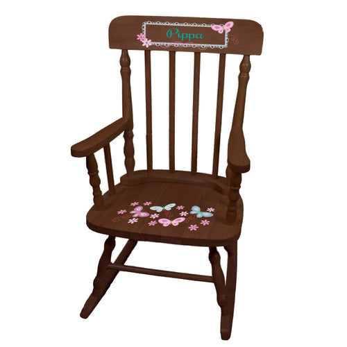 Aqua Butterflies Spindle Rocking Chair - Espresso