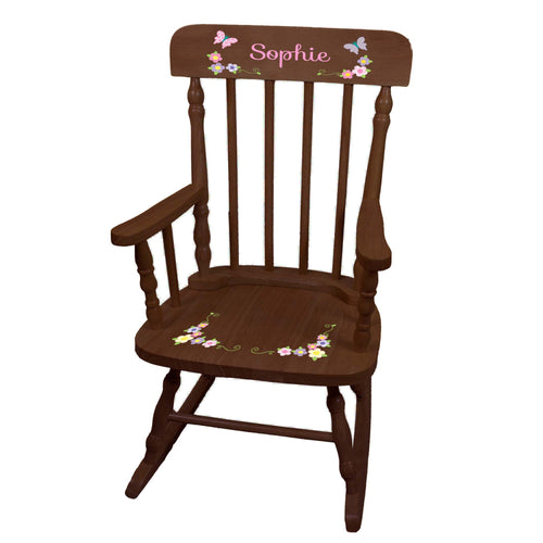 Girl's Pastel Butterfly Garland Spindle Rocking Chair - Espresso