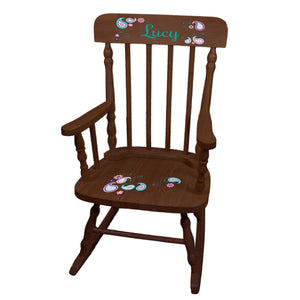 Pink Teal Paisley Spindle Rocking Chair - Espresso