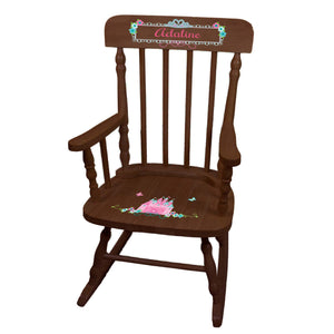 Pink Teal Princess Castle Espresso Spindle Rocking Chair