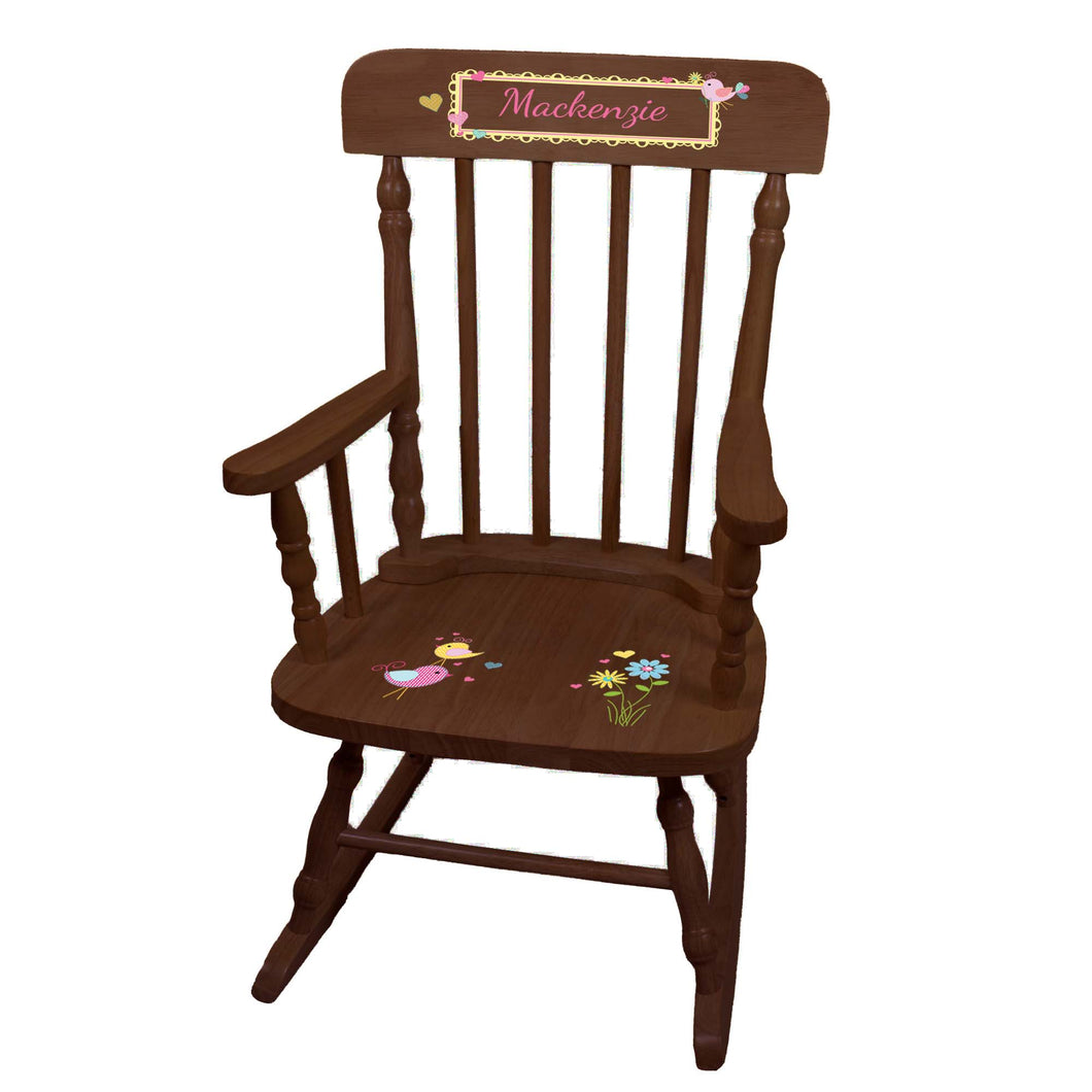Love Birds Children's Spindle Rocking Chair - Espresso