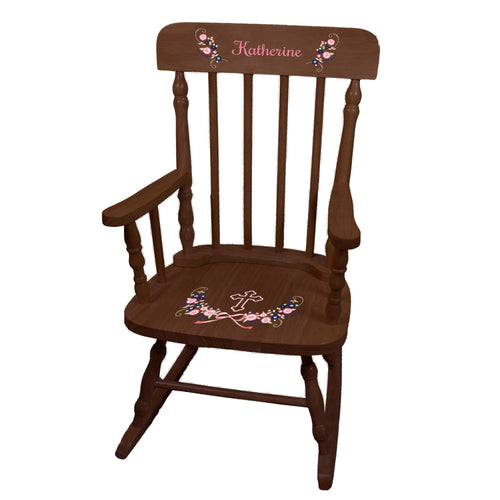 Navy Pink Floral Cross Spindle Rocking Chair - Espresso