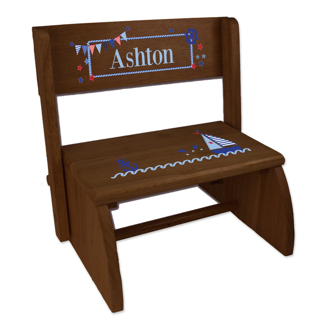 Personalized Boys Sailboat Childrens And Toddlers Espresso Folding Stool